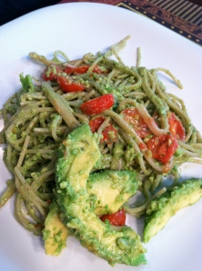 Avocado, Pesto Brown Rice Pasta with Roasted Cherry Tomatoes