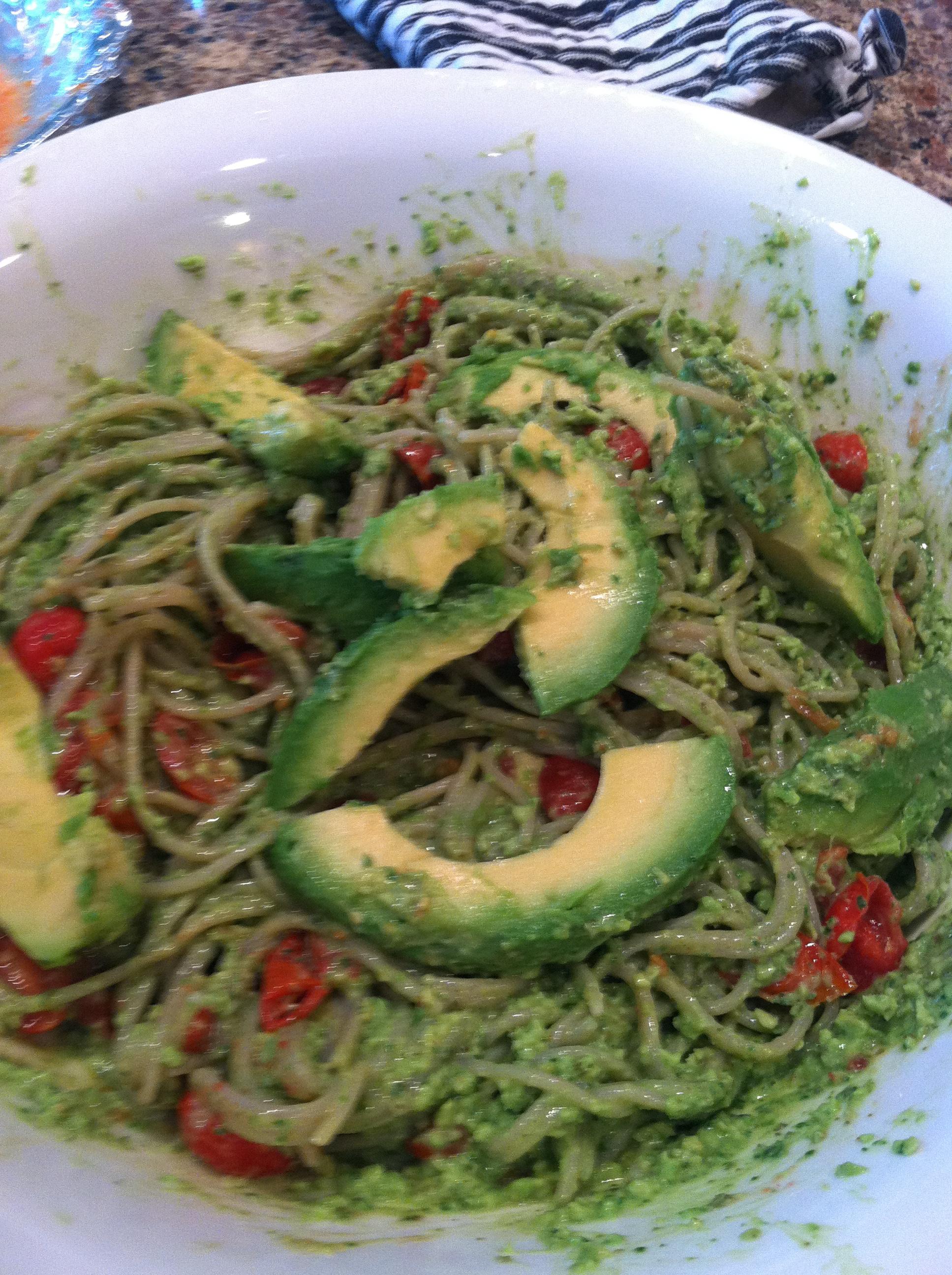 Rice Pasta with Creamy Avocado Pesto Sauce and Roasted Cherry Tomatoes ...