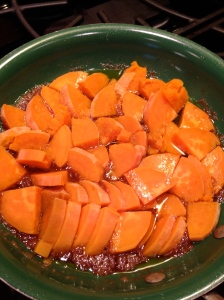 Sweet potatoes in skillet
