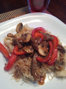 Beef, Mushrooms and Red Pepper Stir Fry Noodles